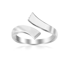 Polished Open Style Toe Ring in Rhodium Finished Sterling Silver