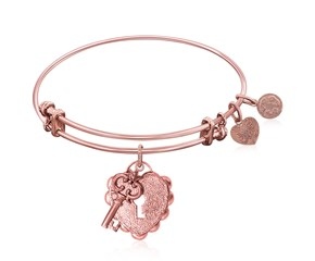 Expandable Pink Tone Brass Bangle with Key To Opening Life's Doors Symbol