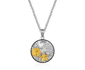 Round Undersea Pendant with Black Crystal in Sterling Silver and 14K Yellow Gold