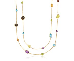 Double Layer Multi Gem Necklace in 14k Yellow Gold