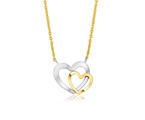Double Heart Necklace in 14k Two-Tone Gold