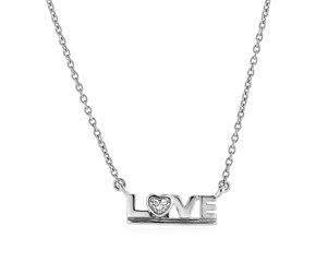 "Sterling Silver""Love"" Pendant with Diamond"