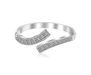 Overlap Style White Cubic Zirconia Rhodium Plated Toe Ring in Sterling Silver