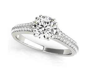 14k White Gold Round Double Prong Multirow Band Diamond Engagement Ring (1 1/8 cttw)