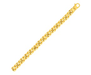 Mens Twisted Oval Link Bracelet in 14k Yellow Gold