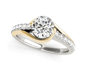 14k Two-Tone Gold Curved Split Shank Style Round Diamond Engagement Ring (1 1/4 cttw)