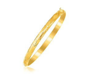Fancy Children's Bangle with Diamond Cuts in 14k Yellow Gold
