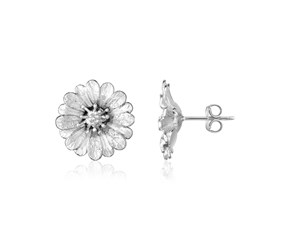 Sterling Silver Flower Earrings with Sparkle Texture