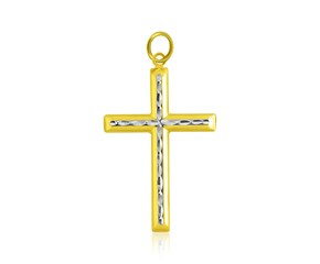 Textured Diamond Cut Design Cross Pendant in 14k Two-Tone Gold
