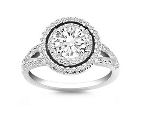 Double Halo Diamond Split Shank Engagement Ring Mounting in 14k White Gold