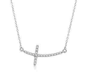 Curved Cross Diamond Studded Necklace in 14k White Gold (.21cttw)