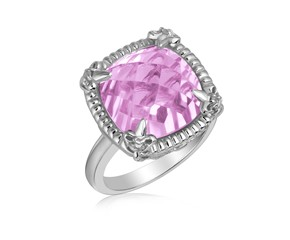 Fancy Pink Amethyst and White Sapphires Fleur De Lis Style Ring in Sterling Silver