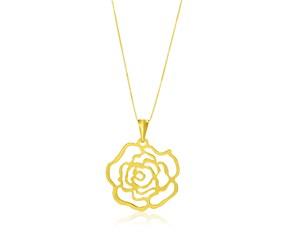 Filigree Rose Design Pendant in 14k Yellow Gold