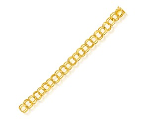 Double Link Solid Charm Bracelet in 14k Yellow Gold (10.0mm)