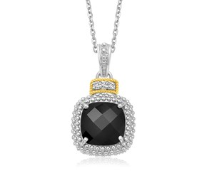 Black Onyx and Diamond Embellished Popcorn Cushion Pendant in 18k Yellow Gold and Sterling Silver (.03cttw)