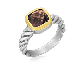 Cushion Smokey Topaz Cable Style Ring in 18K Yellow Gold and Sterling Silver