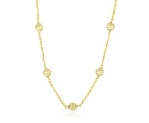 Coil Embellished Ball Station Chain Necklace in 14k Two-Tone Gold
