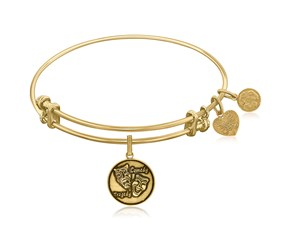 Expandable Yellow Tone Brass Bangle with Comedy Tragedy Symbol