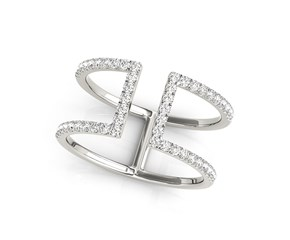 Dual Band Open Motif Diamond Studded Ring in 14K White Gold (1/2 ct. tw.)