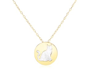 14k Yellow Gold Necklace with Cat Symbol in Mother of Pearl