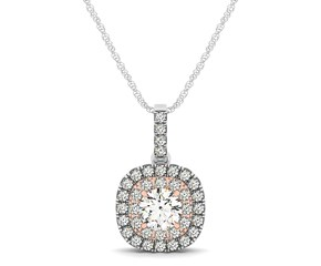 Cushion Shaped Diamond Halo Pendant in 14K White And Rose Gold (1/2 ct. tw.)