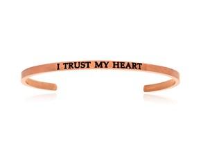 Pink Stainless Steel I Trust My Heart Cuff Bracelet
