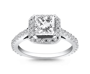 Princess Diamond Halo Cathedral Engagement Ring Mounting in 14k White Gold