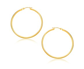 Classic Hoop Earrings in 14k Yellow Gold (30mm Diameter) (1.5mm)