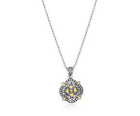Textured Flower Shape Pendant in 18k Yellow Gold and Sterling Silver
