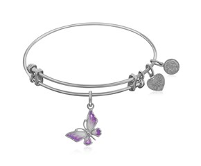 Expandable White Tone Brass Bangle with Pink Enamel Butterfly Symbol