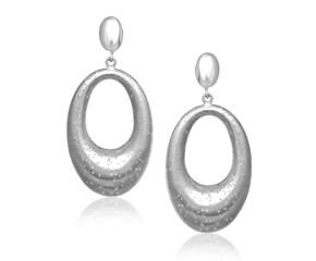 Open Oval Graduated Dangling Earrings in Sterling Silver