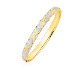 Diamond Shape Pattern Bangle in 10k Two-Tone Gold