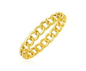 14k Yellow Gold Curb Chain Slip On Bangle