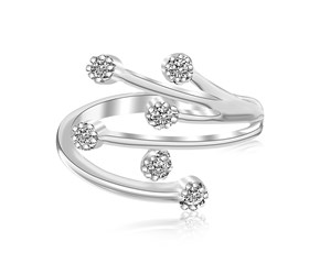 Branch Like Toe Ring with White Cubic Zirconia in Rhodium Finished Sterling Silver