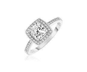 Sterling Silver Square Halo Ring with Cubic Zirconias