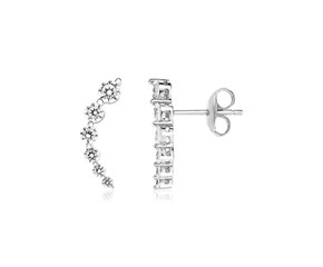 Sterling Silver Floral Climber Earrings with Cubic Zirconias