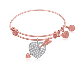 Expandable Pink Tone Brass Bangle with Heart and Arrow with Cubic Zirconia