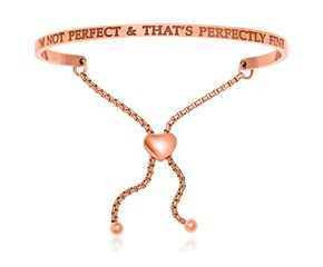 Pink Stainless Steel I'm Not Perfect And That's Perfectly Fine Bracelet