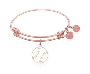 Expandable Pink Tone Brass Bangle with Baseball Symbol