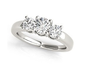14k White Gold Timeless 3 Stone Round Diamond Engagement Ring (1 cttw)