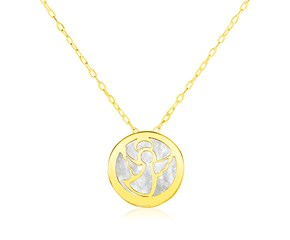 14k Yellow Gold Necklace with Angel Symbol in Mother of Pearl