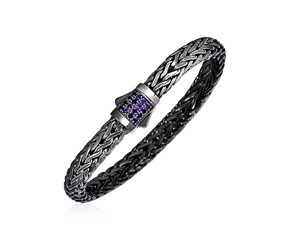 Woven Rope Bracelet with Amethyst and Black Finish in Sterling Silver