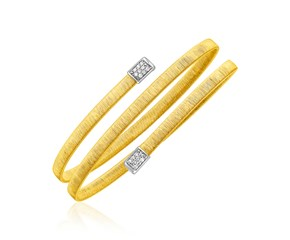 14k Two Tone Gold Spiral Bangle with Diamonds