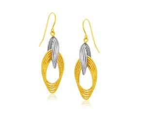 Multiple Row Entwined Earrings in 14k Two-Tone Gold