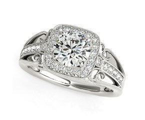 Round with Square Shape Border Baroque Style Diamond Engagement Ring in 14k White Gold (1 1/4 cttw)