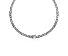Popcorn Texture Necklace with Crossover Motif and Diamonds in Sterling Silver
