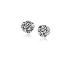 Stud Earrings with Textured Love Knot Style in Sterling Silver