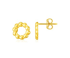 14K Yellow Gold Beaded Circle Earrings