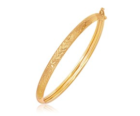 Domed Diamond Cut Motif Children's Bangle in 14k Yellow Gold