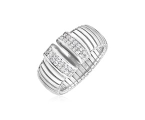 Sterling Silver Serpentine Style Ring with White Cubic Zirconias